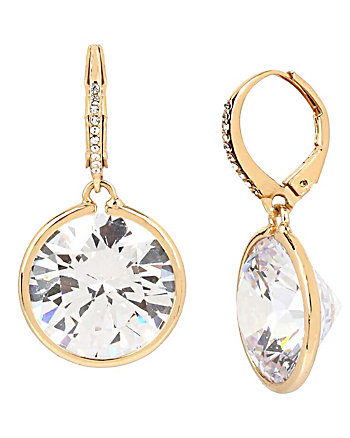 BETSEY BLUE LARGE CRYSTAL DROP GOLD EARRINGS