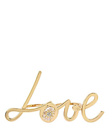 BETSEY BLUE LOVE DOUBLE GOLD RING