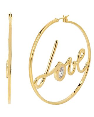 BETSEY BLUE LOVE HOOP GOLD EARRINGS CRYSTAL