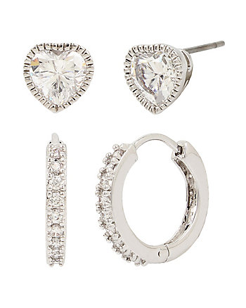 BETSEY BLUE PAVE HOOP AND HEART STUD EARRING SET