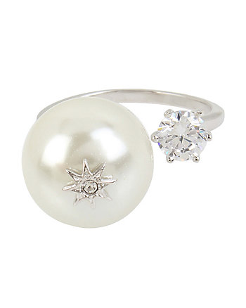 BETSEY BLUE PEARL OPEN RING