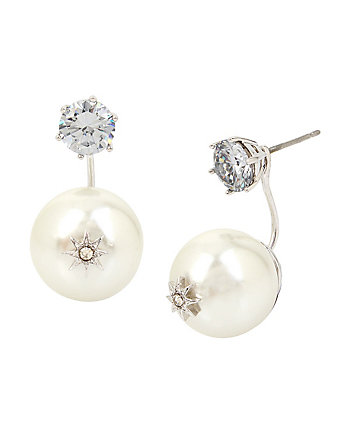 BETSEY BLUE PEARL STAR FRONT BACK EARRINGS