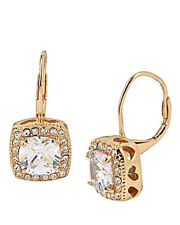 BETSEY BLUE SQUARE CRYSTAL DROP GOLD EARRINGS
