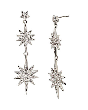 BETSEY BLUE STAR DOUBLE DROP EARRINGS