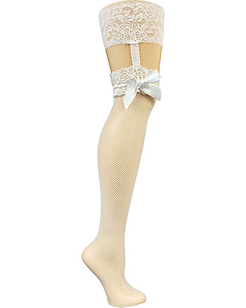 BETSEY BLUE THIGH HIGH FISHNET WITH GARTER AND BOW