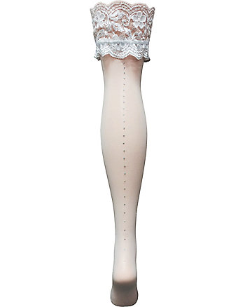 BETSEY BLUE THIGH HIGH WITH LACE AND RHINESTONES