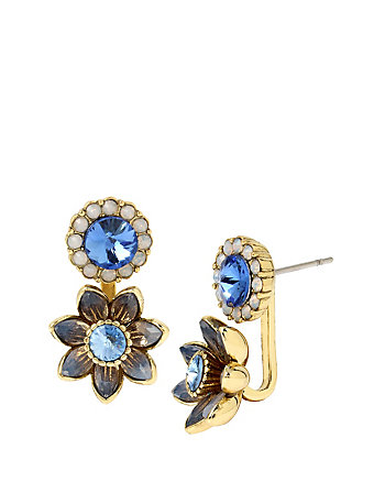 BETSEY BLUES FLOWER FRONT BACK EARRINGS