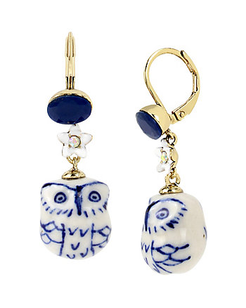 BETSEY BLUES OWL DROP EARRINGS