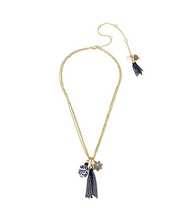 BETSEY BLUES OWL TASSEL NECKLACE