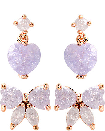 BETSEY CZ BOW AND HEART DUO SET