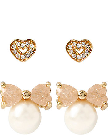 BETSEY CZ PEARL BOW AND HEART STUD DUO SET