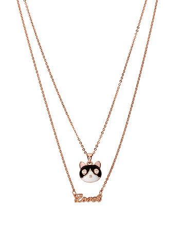 BETSEY GIFTING CAT LOVER 2 ROW NECKLACE