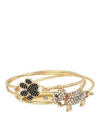 BETSEY GIFTING DOG AND PAW BANGLE SET