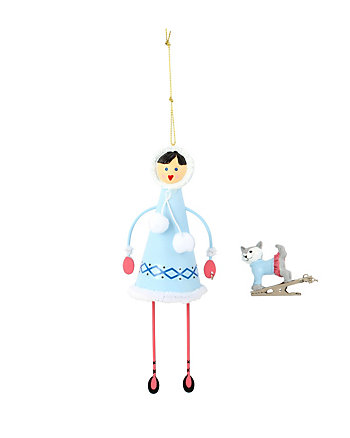 BETSEY GIFTING ESKIMO GIRL AND DOG ORNAMENT
