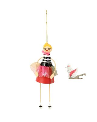 BETSEY GIFTING FIFTIES GIRL AND POODLE ORNAMENT BLACK/WHITE
