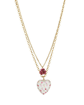BETSEY GIFTING HEART ROSE DOUBLE PENDANT