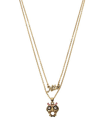 BETSEY GIFTING NIGHT OWL 2 ROW NECKLACE