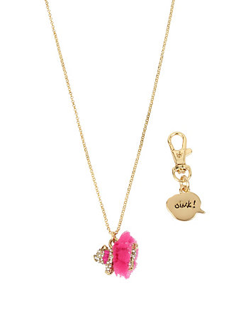 BETSEY GIFTING PIG PENDANT AND OINK DOG CHARM