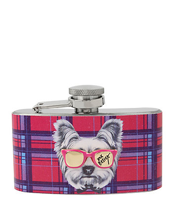 BETSEY GIFTING PLAID DOG FLASK