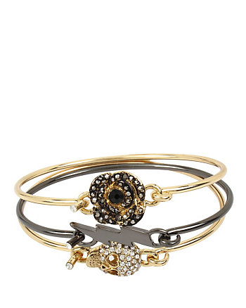 BETSEY GIFTING SKULL AND ROSE BANGLE SET