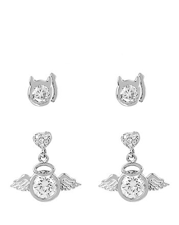 BETSEY MINI CZ ANGEL DEVIL DUO EARRINGS