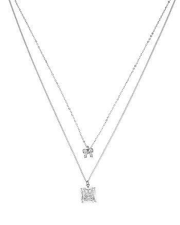 BETSEY MINI CZ CAT BOW 2 ROW NECKLACE