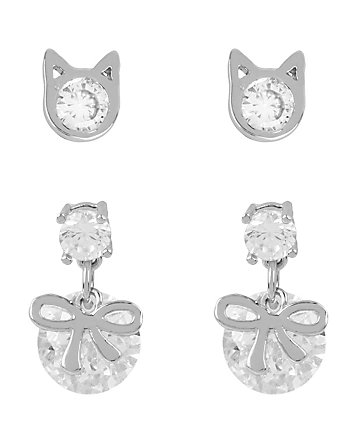 BETSEY MINI CZ CAT BOW DUO EARRINGS