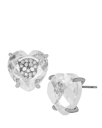 BETSEY MINI CZ SKULL HEART EARRINGS