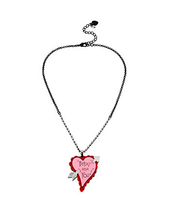 BETSEY PLEXI HEART WITH ARROW PENDANT