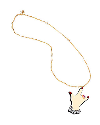 BETSEY PLEXI ROCK ON LONG PENDANT