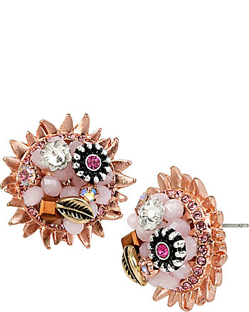 BETSEY WOVEN FLOWER BUTTON EARRINGS