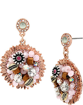 BETSEY WOVEN FLOWER DROP EARRINGS