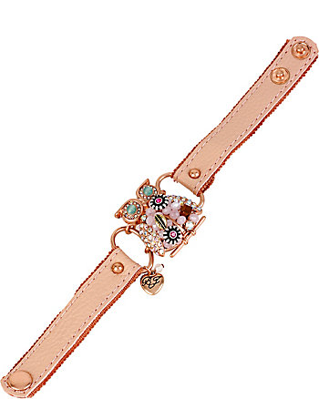 BETSEY WOVEN OWL LEATHER CUFF