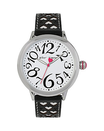 BETSEYS BLACK AND WHITE PERFERATED HEARTS WATCH