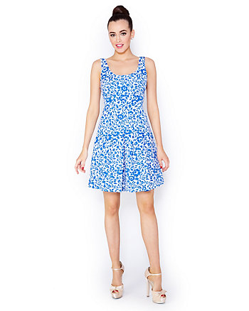BETSEYS BLUE BROCADE DRESS