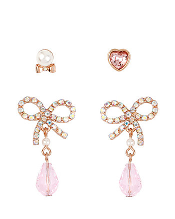 BETSEYS BOW AND HEART PEARL STUD SET