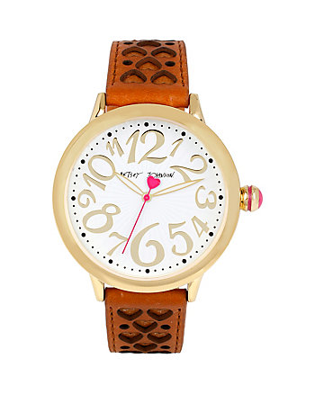 BETSEYS BROWN PERFERATED HEARTS WATCH