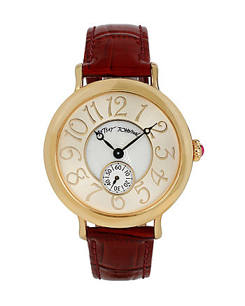 BETSEYS CLASSIC GOLD AND BURGUNDY WATCH