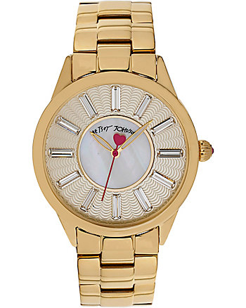 BETSEYS CLASSIC TEXTURED DIAL GOLD WATCH