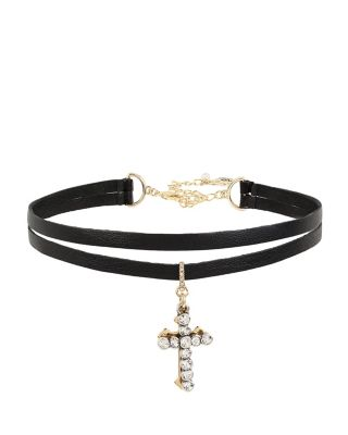 BETSEYS CROSS CHOKER BLACK