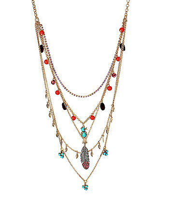 BETSEYS DELICATES CHARM MUILTI ROW NECKLACE