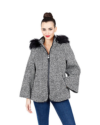 BETSEYS FAUX FUR TRIMMED CAPELET