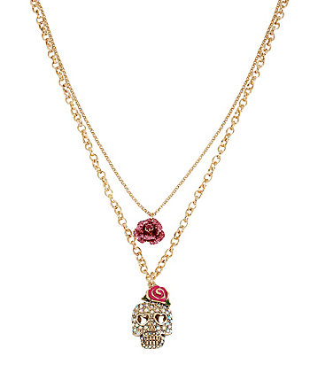 BETSEYS FAVE SKULL ROSE DOUBLE PENDANT