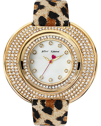 BETSEYS GOLD CURVED FACE WITH LEOPARD BAND