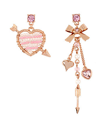 BETSEYS HEART AND BOW MISMATCH EARRINGS