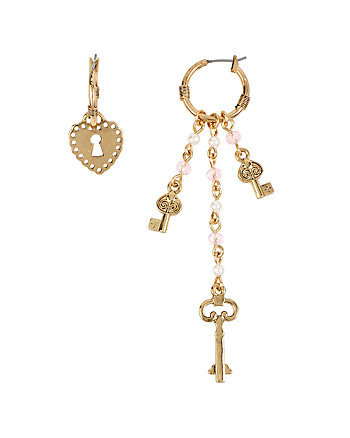 BETSEYS HEART LOCK AND KEY MISMATCH EARRINGS
