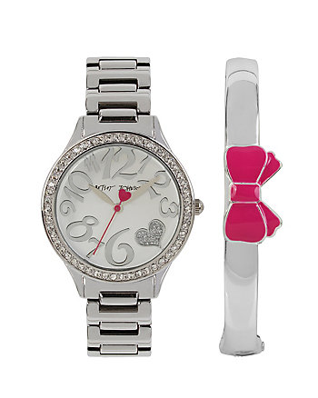 BETSEYS HOLIDAY BANGLE AND WATCH SILVER SET