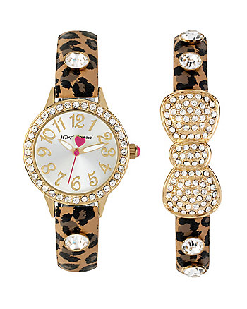 BETSEYS HOLIDAY LEOPARD WATCH SET