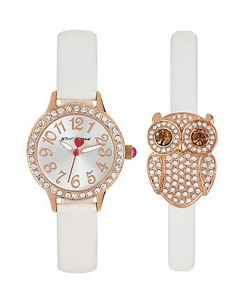 BETSEYS HOLIDAY OWL AND WATCH SET