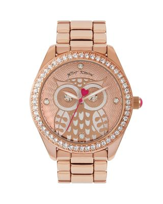 BETSEYS HOLIDAY OWL WATCH ROSE GOLD